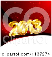 Clipart Of 3d Gold New Year 2013 On Red And White Royalty Free Vector Illustration