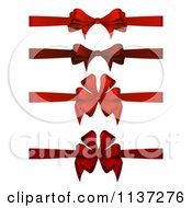 Clipart Of Red Christmas Gift Bows And Ribbons Royalty Free Vector Illustration