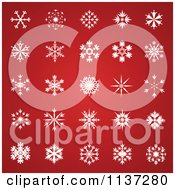 White Snowflakes Over Gradient Red