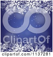 Clipart Of A Blue Winter Or Christmas Snowflake Background With Copyspace 5 Royalty Free Vector Illustration