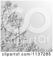 Clipart Of A Grayscale Winter Or Christmas Snowflake Background With Copyspace Royalty Free Vector Illustration