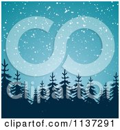 Clipart Of A Snow Falling Down On Silhouetted Evergreen Trees At Night Royalty Free Vector Illustration