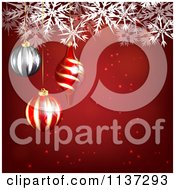Clipart Of A Red Christmas Snowflake Background With Baubles Royalty Free Vector Illustration by vectorace