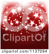 Clipart Of A Red Christmas Backgroudn With Glowing Stars Royalty Free Vector Illustration by vectorace