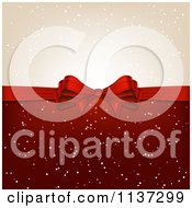 Clipart Of A Red Christmas Gift Bow With Snow Royalty Free Vector Illustration