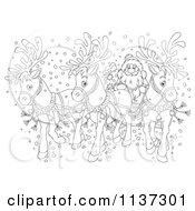 Cartoon Of Outlined Santa With Reindeer Pulling His Sleigh Royalty Free Clipart