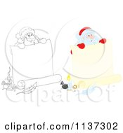 Cartoon Of An Outlined And Colored Santa Behind A Large Scroll Letter With Ink Royalty Free Vector Clipart