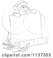 Cartoon Of An Outlined Santa Behind A Large Scroll Letter With Ink Royalty Free Vector Clipart