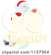Cartoon Of Santa Behind A Large Scroll Letter With Ink Royalty Free Vector Clipart by Alex Bannykh