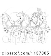 Cartoon Of An Outlined Santa With Horses Pulling His Sleigh Royalty Free Vector Clipart