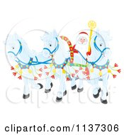 Cartoon Of Santa With White Ponies Pulling His Sleigh Royalty Free Clipart