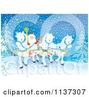 Cartoon Of Santa With White Ponies Pulling His Sleigh In The Snow Royalty Free Clipart