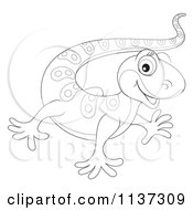Cartoon Of A Cute Outlined Gecko Royalty Free Clipart by Alex Bannykh