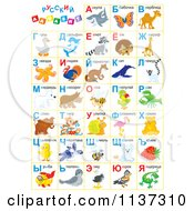 Cartoon Of A Russian Alphabet Chart With Animals Royalty Free Clipart by Alex Bannykh