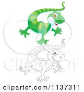 Cartoon Of A Cute Outlined And Green Gecko Royalty Free Clipart by Alex Bannykh