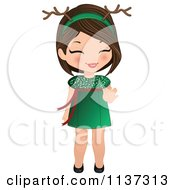 Cartoon Of A Giggling Christmas Girl In A Green Dress And Antlers Royalty Free Vector Clipart