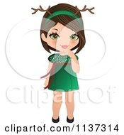 Cartoon Of A Christmas Girl In A Green Dress And Antlers Royalty Free Vector Clipart