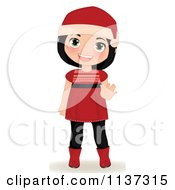 Cartoon Of A Waving Christmas Girl In A Red Dress Boots And Santa Hat Royalty Free Vector Clipart by Melisende Vector