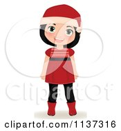 Cartoon Of A Smiling Christmas Girl In A Red Dress Boots And Santa Hat Royalty Free Vector Clipart by Melisende Vector