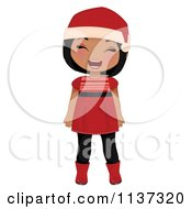 Cartoon Of A Laughing Black Christmas Girl In A Red Dress Boots And Santa Hat Royalty Free Vector Clipart by Melisende Vector