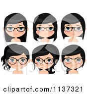 Cartoon Of Faces Of A Happy Girl Wearing Glasses Royalty Free Vector Clipart