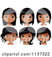 Cartoon Of Faces Of A Happy Black Girl Royalty Free Vector Clipart