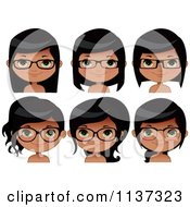 Cartoon Of Faces Of A Happy Black Girl Wearing Glasses Royalty Free Vector Clipart by Melisende Vector