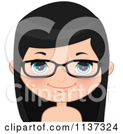 Cartoon Of A Happy Girl Wearing Glasses 1 Royalty Free Vector Clipart