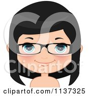 Cartoon Of A Happy Girl Wearing Glasses 2 Royalty Free Vector Clipart