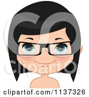 Cartoon Of A Happy Girl Wearing Glasses 3 Royalty Free Vector Clipart