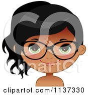 Cartoon Of A Happy Black Or Indian Girl Wearing Glasses 4 Royalty Free Vector Clipart