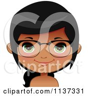 Cartoon Of A Happy Black Or Indian Girl Wearing Glasses 6 Royalty Free Vector Clipart by Melisende Vector