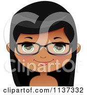 Cartoon Of A Happy Black Or Indian Girl Wearing Glasses 1 Royalty Free Vector Clipart