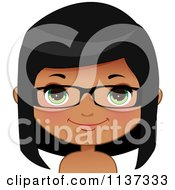 Cartoon Of A Happy Black Or Indian Girl Wearing Glasses 2 Royalty Free Vector Clipart