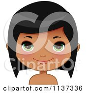 Cartoon Of A Happy Black Or Indian Girl Face 3 Royalty Free Vector Clipart by Melisende Vector