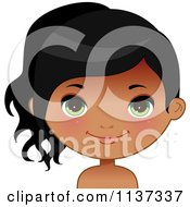 Cartoon Of A Happy Black Or Indian Girl Face 4 Royalty Free Vector Clipart by Melisende Vector