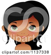 Cartoon Of A Happy Black Or Indian Girl Face 5 Royalty Free Vector Clipart by Melisende Vector