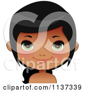 Cartoon Of A Happy Black Or Indian Girl Face 6 Royalty Free Vector Clipart by Melisende Vector