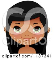 Cartoon Of A Happy Black Or Indian Girl Face 1 Royalty Free Vector Clipart