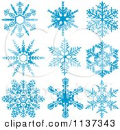 Clipart Of Nine Blue Snowflakes Royalty Free Vector Illustration