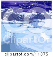 Wintry Landscape With Snowflakes Mountains And Bare Tree Branches