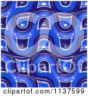 Clipart Of A Seamless 3d Blue Truchet Tile Texture Background Pattern Version 2 Royalty Free CGI Illustration
