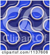 Clipart Of A Seamless 3d Blue Truchet Tile Texture Background Pattern Version 9 Royalty Free CGI Illustration