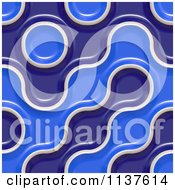 Clipart Of A Seamless 3d Blue Truchet Tile Texture Background Pattern Version 17 Royalty Free CGI Illustration