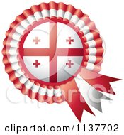 Clipart Of A Shiny Georgia Flag Rosette Bowknots Medal Award Royalty Free Vector Illustration