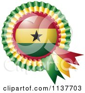 Clipart Of A Shiny Ghana Flag Rosette Bowknots Medal Award Royalty Free Vector Illustration