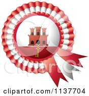 Clipart Of A Shiny Gibraltar Flag Rosette Bowknots Medal Award Royalty Free Vector Illustration