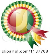 Clipart Of A Shiny Guinea Flag Rosette Bowknots Medal Award Royalty Free Vector Illustration