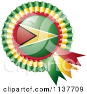 Clipart Of A Shiny Guyana Flag Rosette Bowknots Medal Award Royalty Free Vector Illustration