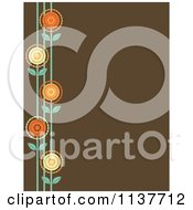 Cartoon Of A Retro Brown Background With A Border Of Flowers Royalty Free Vector Clipart